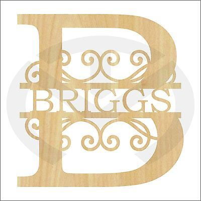 Unfinished Wood Split Letter & Scrolls Family Name Door Hanger with your Initial