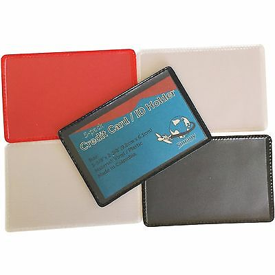 Black 5 Business Card (5-Pack ID CREDIT CARD BUSINESS CARD COVER HOLDER PROTECTOR Clear Black Blue Red )