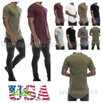 $3.95 - Men's T-Shirt Lot Long Extended Casual Fashion T-Shirt Basic Crew Neck Hip Hop