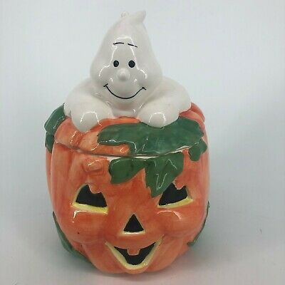 Halloween Pumpkin Jack O Lantern Ghost Ceramic Cookie Jar Collectible