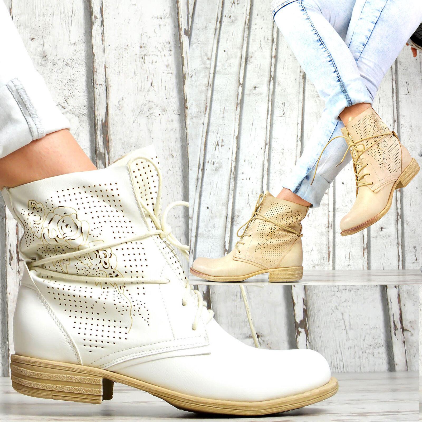 f9d4098f64c1d0 Neu Designer Damen Schuhe Biker Sommer Schnür Ankle Boots Stiefeletten Weiß  Beig