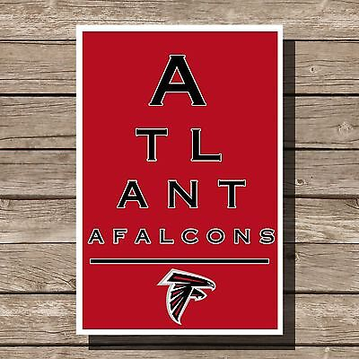 Atlanta Falcons Art Football NFL Eyechart Poster Man Cave Decor 12x16