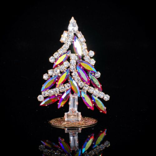 "Czech christmas tree - stand-up - rhinestone - 2.56"" x 1.17"""