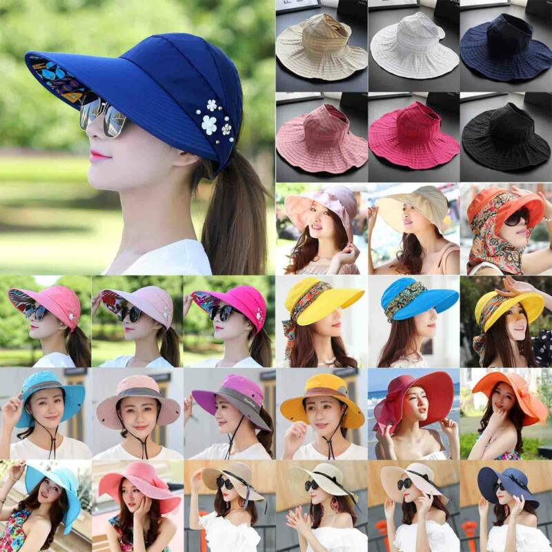 Women Large Wide Brim Hat Summer Beach Holiday Sun Visor Pon