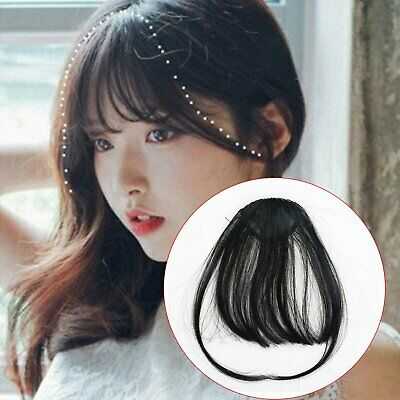 Thin Neat Air Bangs Remy Hair Extensions Clip in on Fringe Front Hairpiece Hair Care & Styling