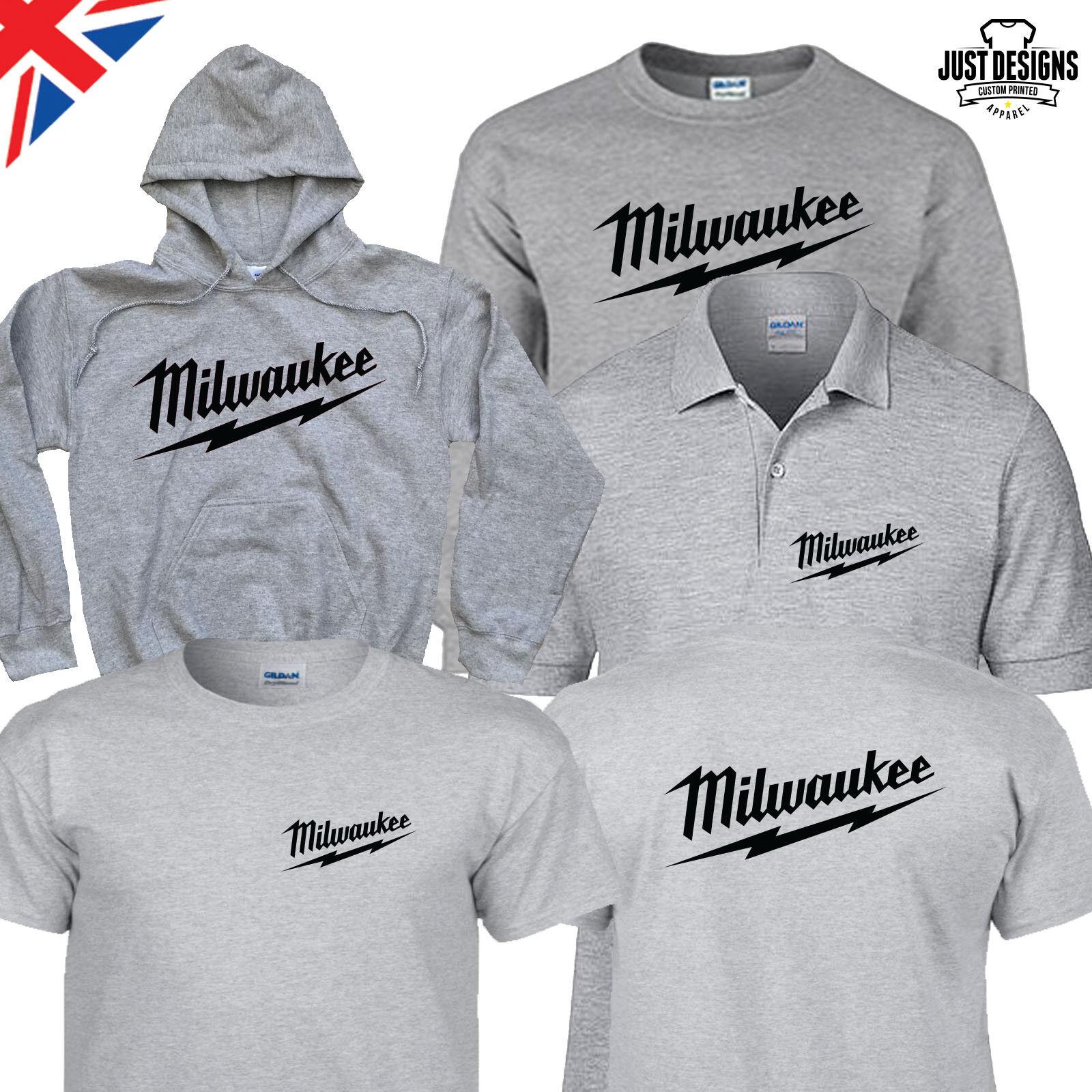 Milwaukee Grey T-shirt Hoodie Polo Shirt Jumper S-5XL Power