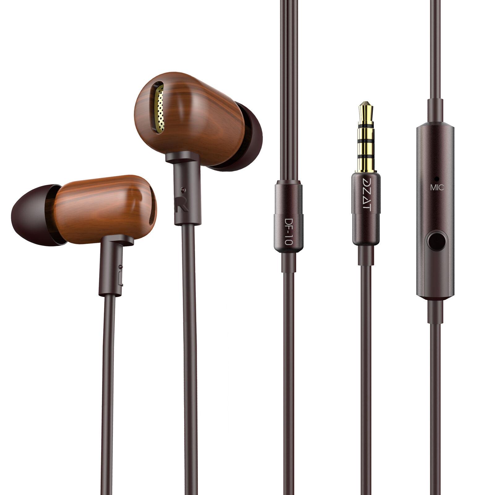 DZAT DF10 Wooden Stereo Earbuds Fullrange Balance In Ear Earphones with Mic