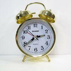 Sharp Quartz Model SPC829E Alarm Clock Goldtone Twin Bells