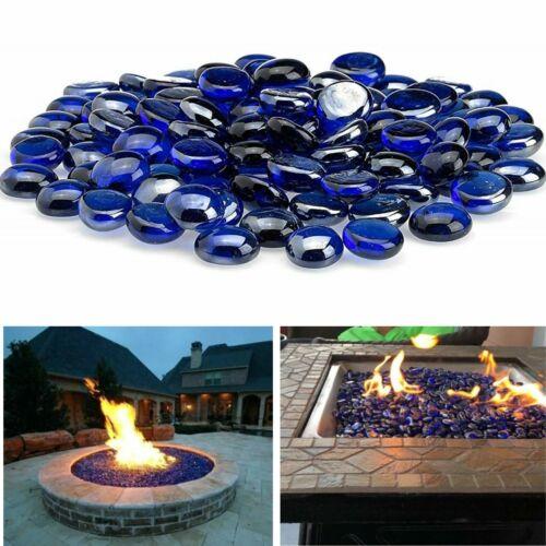 Blue Fire Pit Glass Beads Premium Fireplace Round Reflective Drops Rocks 10 lb