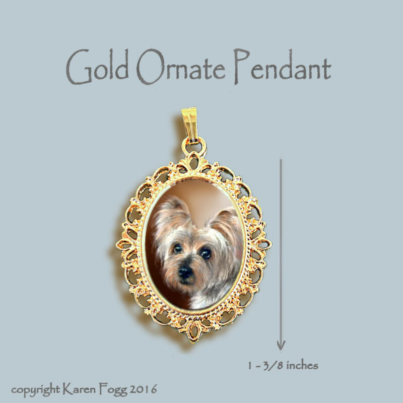 SILKY YORKIE TERRIER DOG - ORNATE GOLD PENDANT NECKLACE