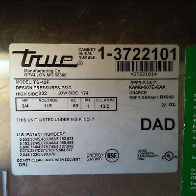 True Commercial Freezer Ts-49f 54 2 Two Door Stainless Please Read Description