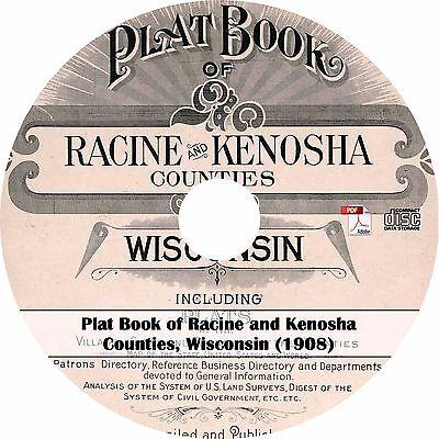 1908 Racine & Kenosha County, Wisconsin Plat Book - WI Atlas Maps on CD
