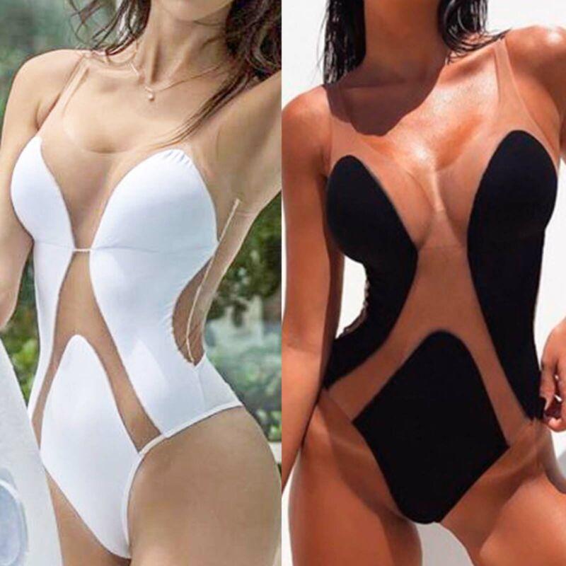 Damen Monokini Bikini Gepolstert BH Durchsichtig Schwimmanzug Badeanzug Bademode