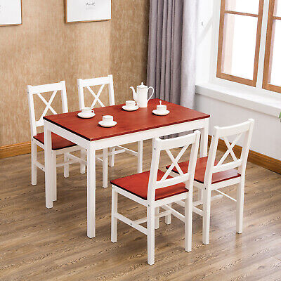 5 Piece Dining Table Set with 4 Chairs Pine Wood Kitchen Dining Room -