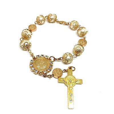 Bracelet - rosary- St Saint Benedict Beads Auto Car Rear view Catholic Rosary   Catholic Rosary Bracelets
