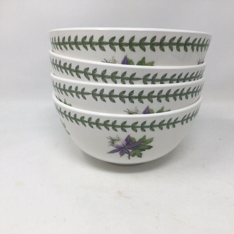 Portmerion Melamine 4 Cereal Salad Soup Bowls EXOTIC Botanic Garden Floral  New