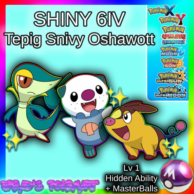 SHINY 6IV Tepig Snivy Oshawott (Unova 3 Pack) Pokemon XY ORAS Ultra Sun Moon 3DS