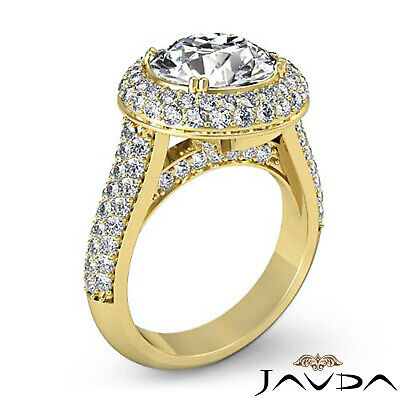 3 Row Shank Double Halo Round Diamond Engagement Ring GIA F SI1 Clarity 2.5 Ct 9