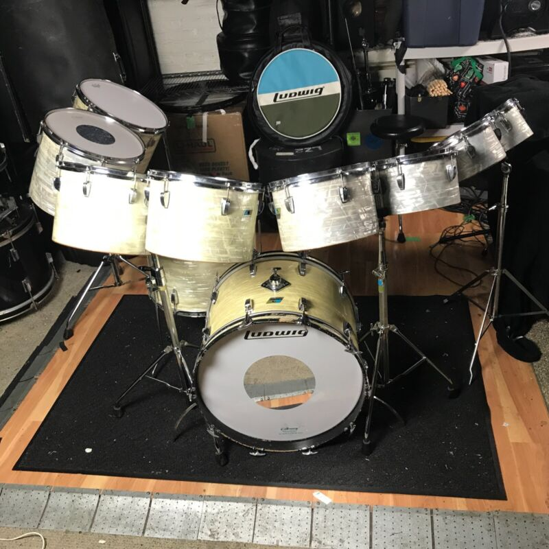 """Ludwig OctaPlus 70s White Marine Pearl 10pc 6ply Maple Pointy B/O single 22"""" BD"""
