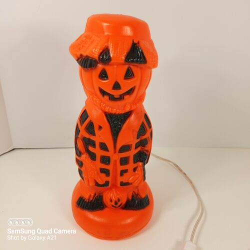 "vintage lighted blow mold 13"" tall Halloween pumpkin head Scarecrow Hobo"
