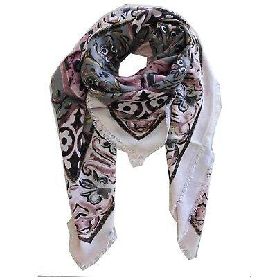 Schal Gemustert Pink Grau Ornamente Modern Halstuch Nude Big Square Beige - Big Square Schal
