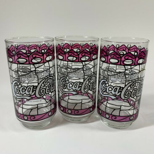 Set of 3 Vintage Enjoy Coca Cola Coke Purple Stained Glass Drinking Glasses