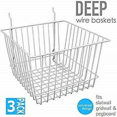 Only Hangers Deep Wire Baskets For Gridwall Slatwall And Pegboard- White 3pk