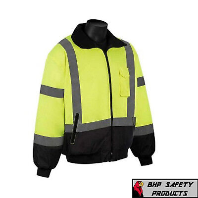 Hi-vis Insulated Safety Bomber Reflective Jacket Construction Waterproof Lgs