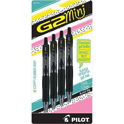Pilot G2 Mini Premium Retractable Gel Roller Pen Fine Point 0.7mm Black 4pk