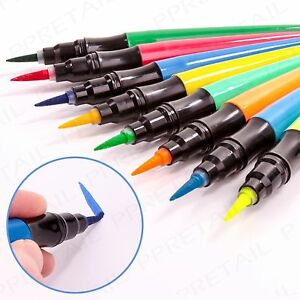 8 x BRUSH COLOURING PENS Red/Yellow/Green/Blue Felt Tip Drawing Painting Markers