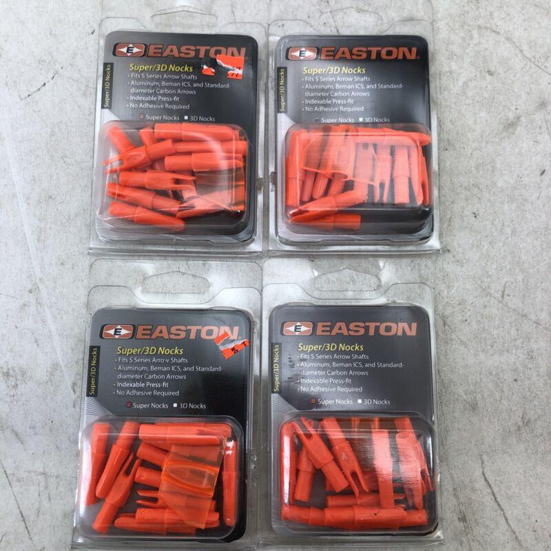Lot of 4 - Easton Super 3D Nocks 4 Dozen ORANGE Pack - NEW