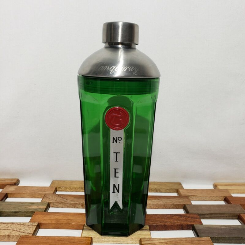 Tanqueray Gin Green Glass Cocktail Shaker Red Seal Metal Cap Etched Lid