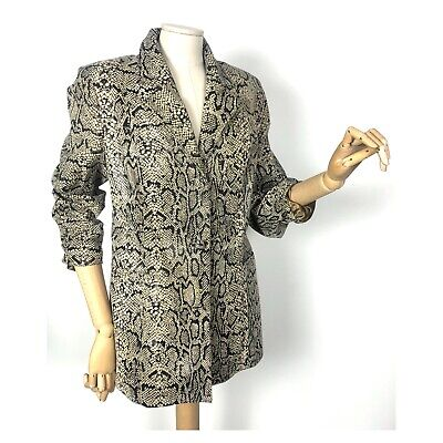 VTG 90s Zerimar snakeskin ladies leather blazer jacket glam rock fetish boho M