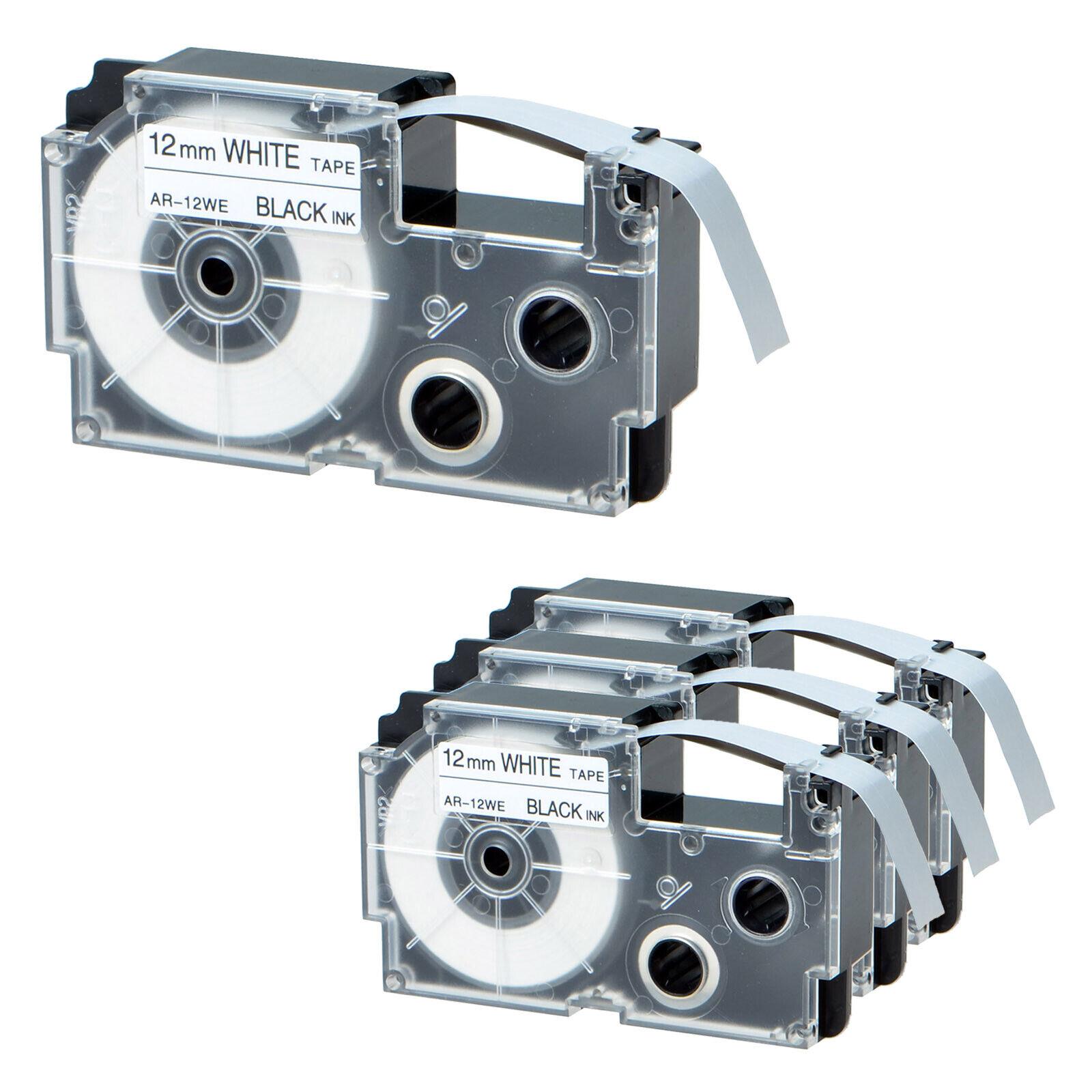 XR-12WE1 Compatible for Casio Tape Black on White 1//2/'/' Label KL100 KL750  2PACK