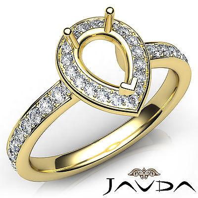 Pear Diamond Engagement Halo Pave Setting 18k Yellow Gold Semi Mount Ring 0.45Ct
