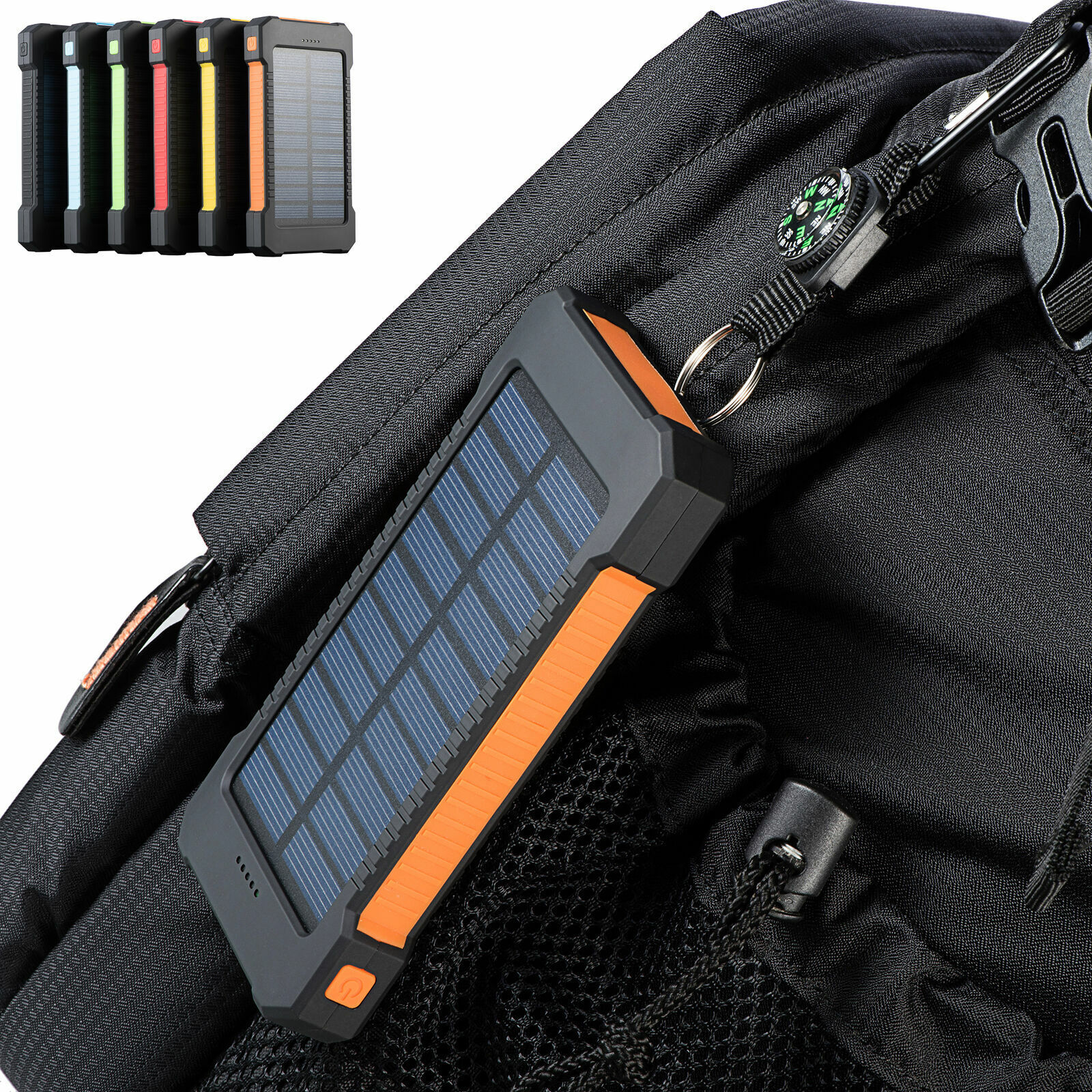 2020 Waterproof Solar Power Bank 900000mAh Portable External Battery Charger US Cell Phone Accessories