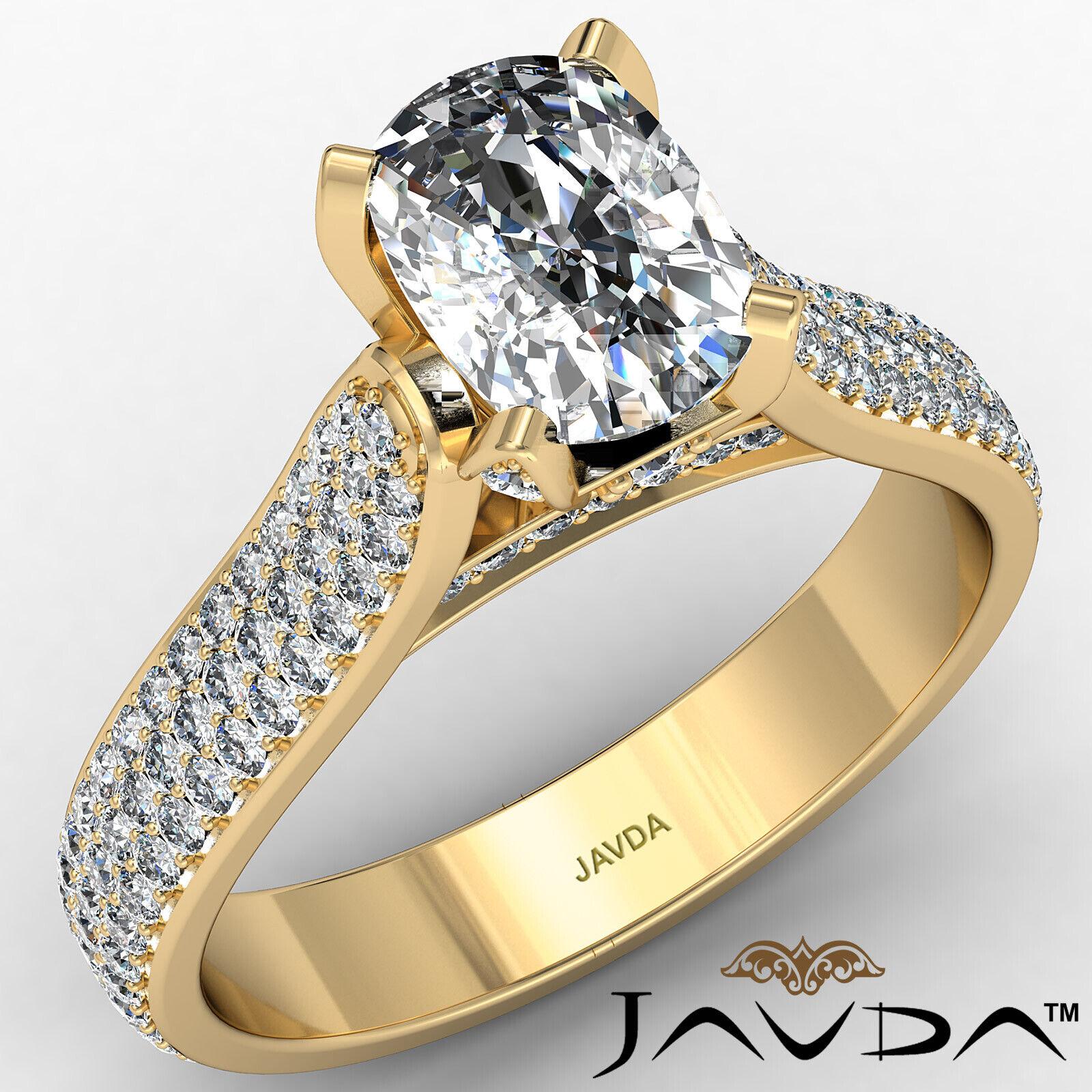 3 Row Shank Cushion Diamond Engagement Ring GIA E Color & SI1 clarity 2.35 ctw 1