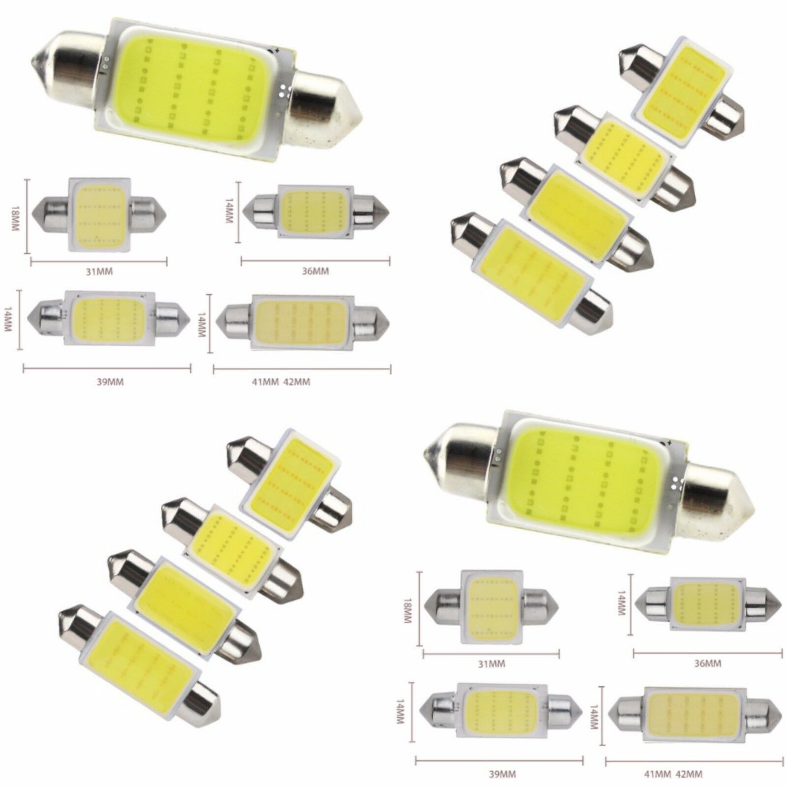 LED 12v CAR BULB C5W COB XENON WHITE FESTOON NUMBER PLATE INTERIOR 31 36 39 42MM
