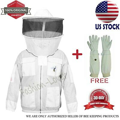 3 Layers Anti Bee Beekeeping Jacket Protective Costume Coat Veil White Size 2xl
