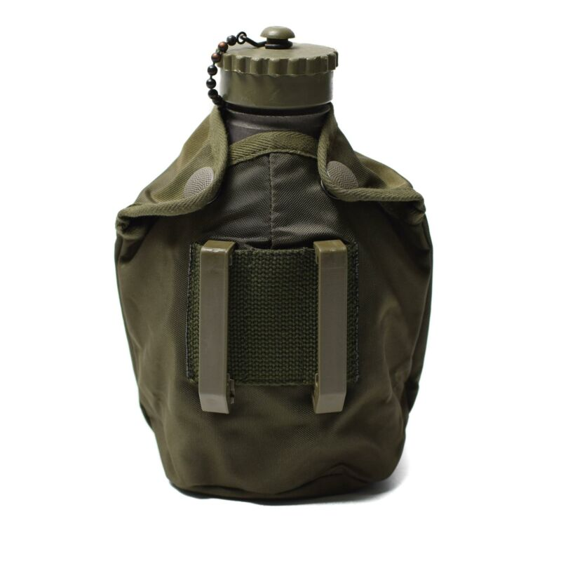 Original Austrian army field troops aluminum canteen OD pouch military surplus
