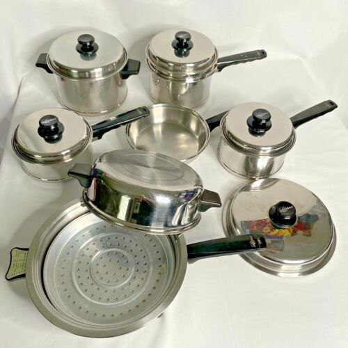Vintage Lifetime Cookware 18-8 Stainless StockPot Pan Elec Skillet *14 Pcs* USA