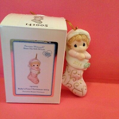 NIB Precious Moments 2014 GIRL Baby's First Christmas Ornament Annual Dated - Annual Dated Ornament