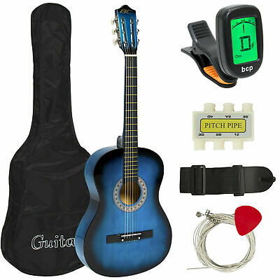 Blue BCP 38in Beginner Acoustic Guitar Musical Instrument Kit w/Case,Strap,Tuner