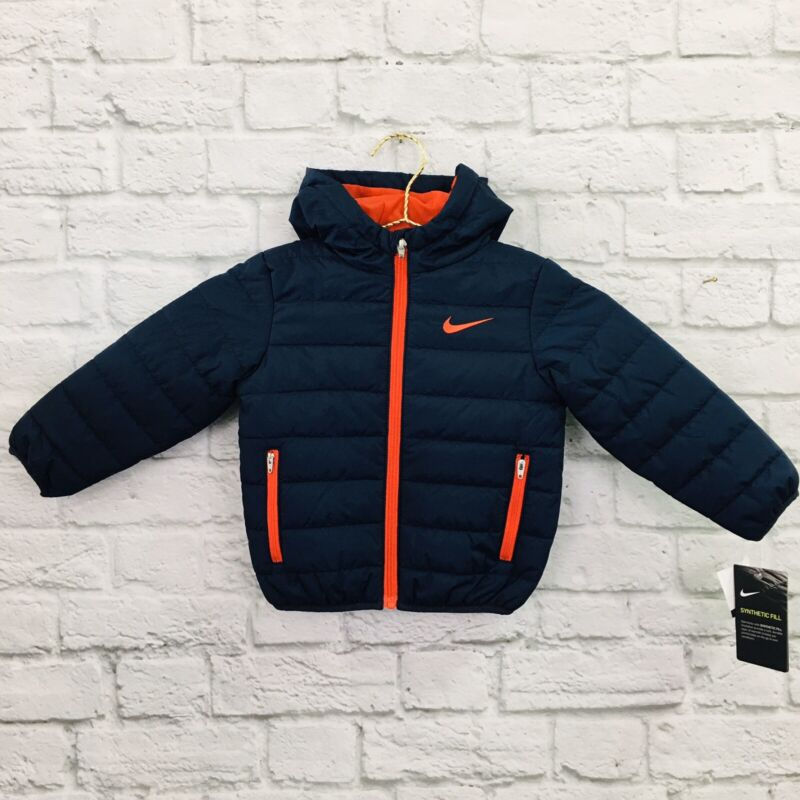 *NEW* Nike Swoosh Winter Puffer Jacket (Toddler Size 2T) Hooded Coat Blue/Red