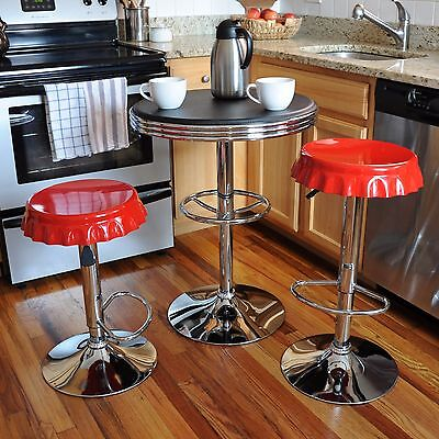 Red 3 Piece Soda Cap Black Table Top Pub Bistro Set Home Dining Room Furniture 3 Piece Cherry Pub Table
