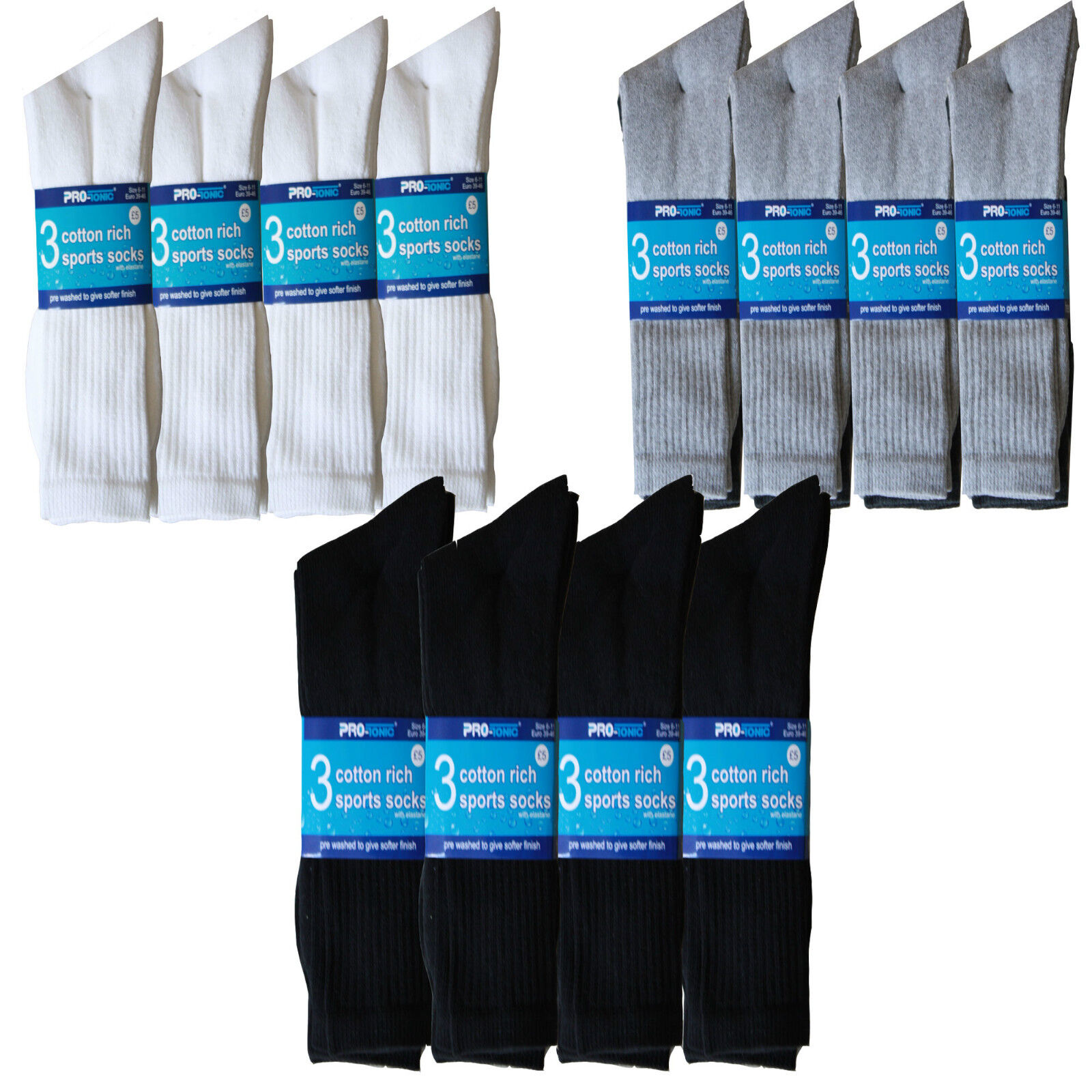 12 pairs or 24 pairs mens Cotton Rich Sport Socks work  men size 6-11 & 12-14