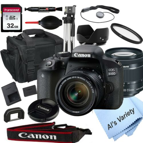 Canon EOS Rebel 800D / T7i 24.2MP  w/ EF-S 18-55mm STM  Lens 18PC Bundle