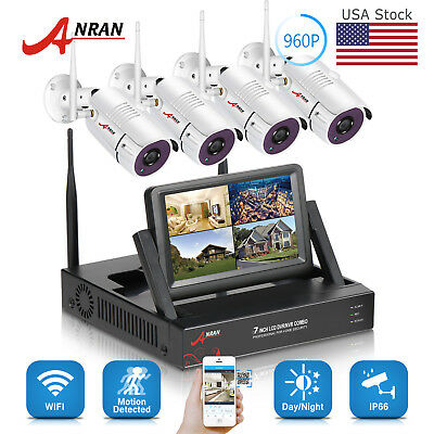 """960P 4CH Wireless Security Camera System WIFI NVR Kit 7""""Monitor Surveillance HD"""