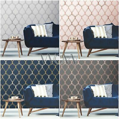 WORLD OF WALLPAPER CLIFTON WAVE GEOMETRIC METALLIC ROSE GOLD SILVER COPPER NAVY
