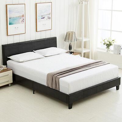 Queen Size Platform Bed Frame & Slats Upholstered Headboard Faux Leather Bedroom